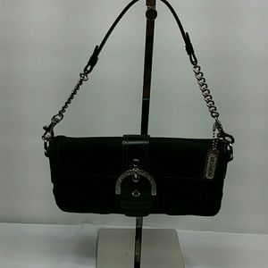 COACH BUCKLE FLAP BLACK SATEEN AND SUEDE EVENING C
